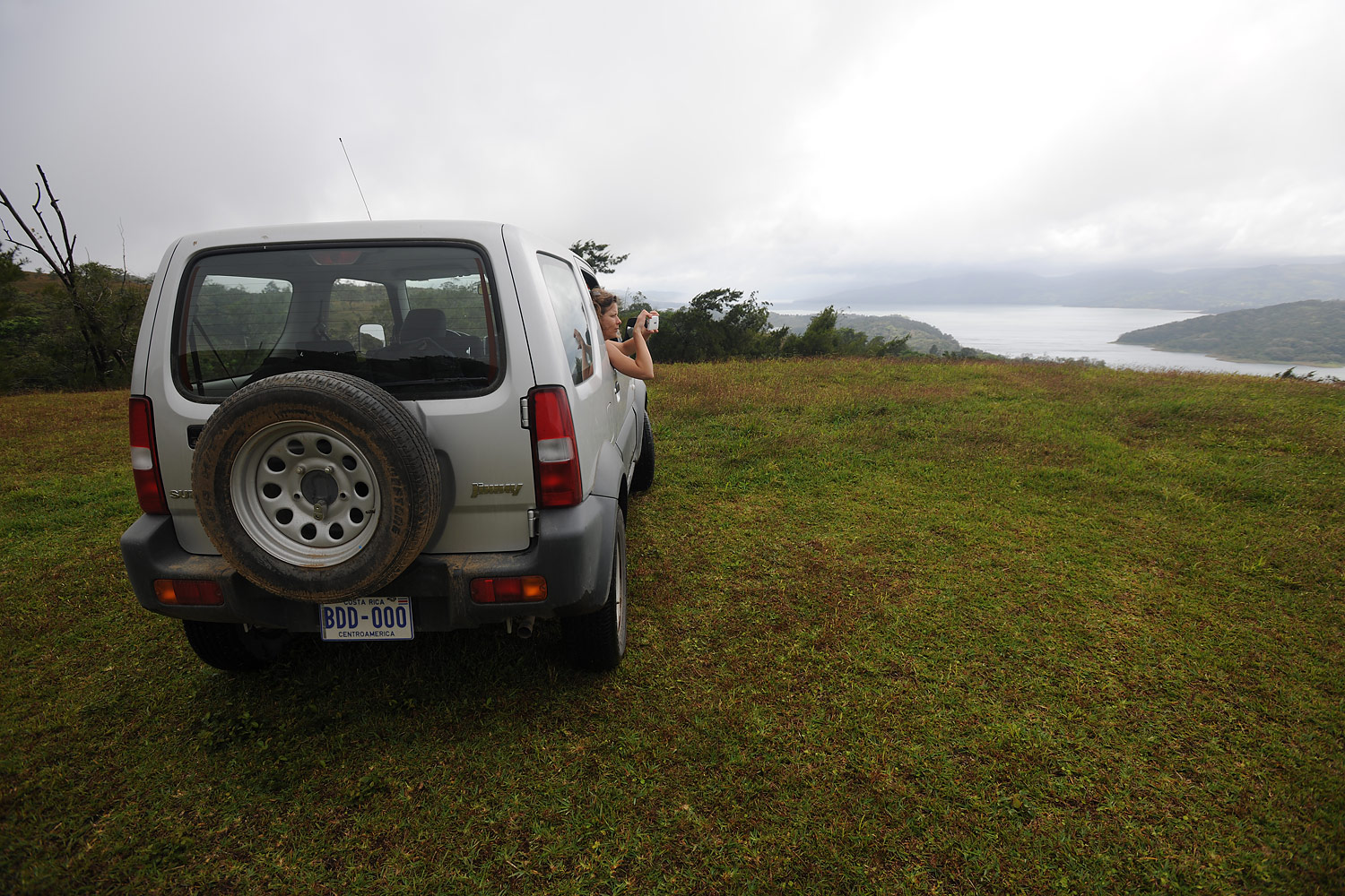Miriam shooting the scene from the Jimny.