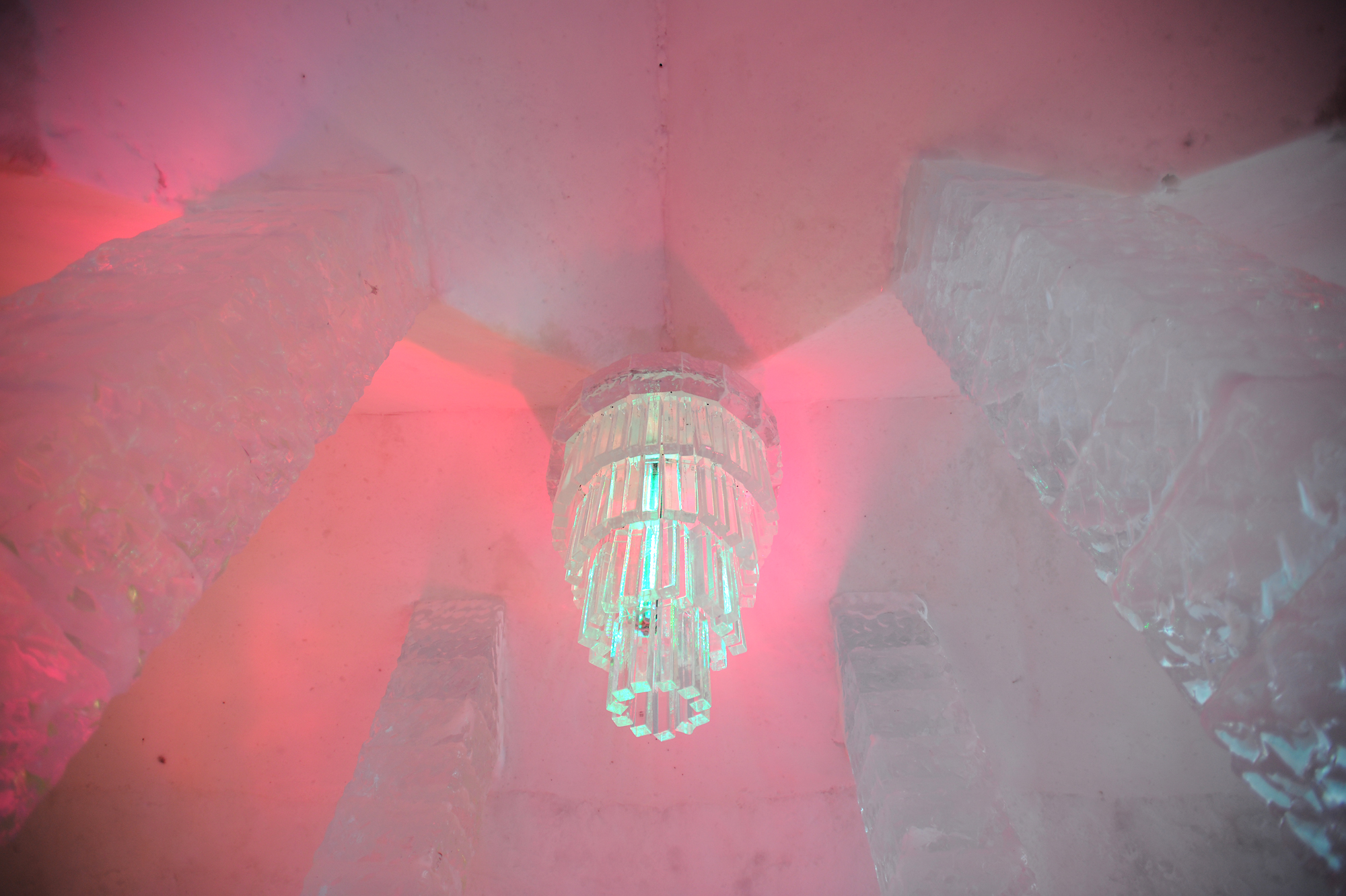 The ever changing lights of the Ice Hotel's chandelier.