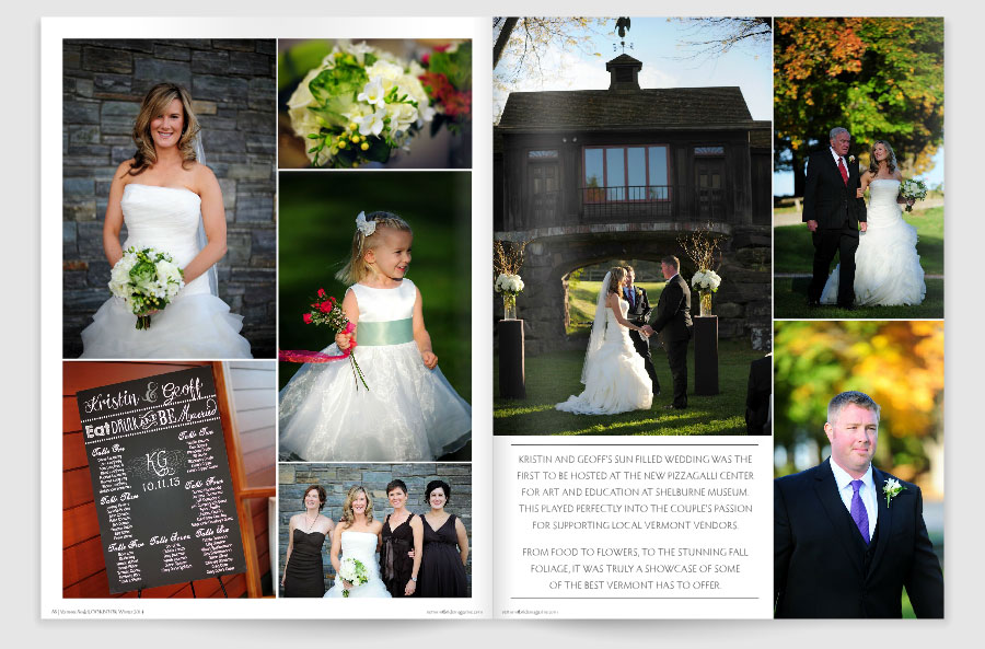 Vermont Photographer David Seaver's wedding photos from the Shelburne Museum are featured in Vermont Bride Magazine.